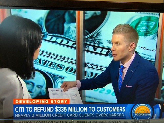 Financial Planner LA David Rae on the Today Show with Jo Ling Kent Discussing the Citi $330 Million Dollar refund to overcharged customers.